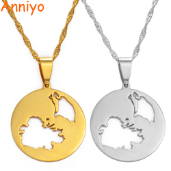 Anniyo Antigua and Barbuda Pendant & Necklaces for Women Girls Silver Color/Gold Color Jewelry Gifts #145221