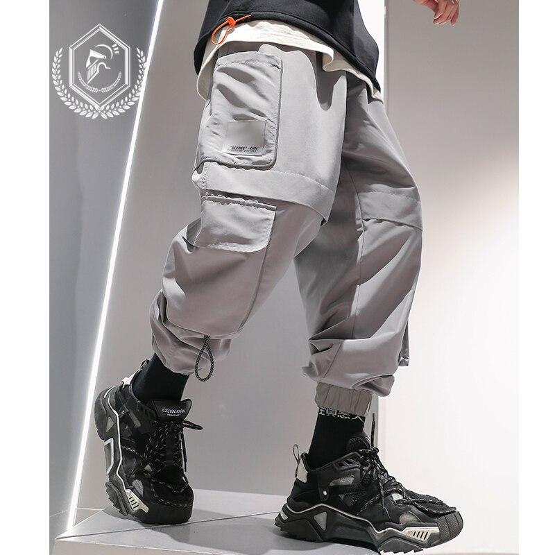 Men Fashion Loose Safari Style Harem Jogger Pants Casual Pockets Ankle-Length Hip Hop Pants