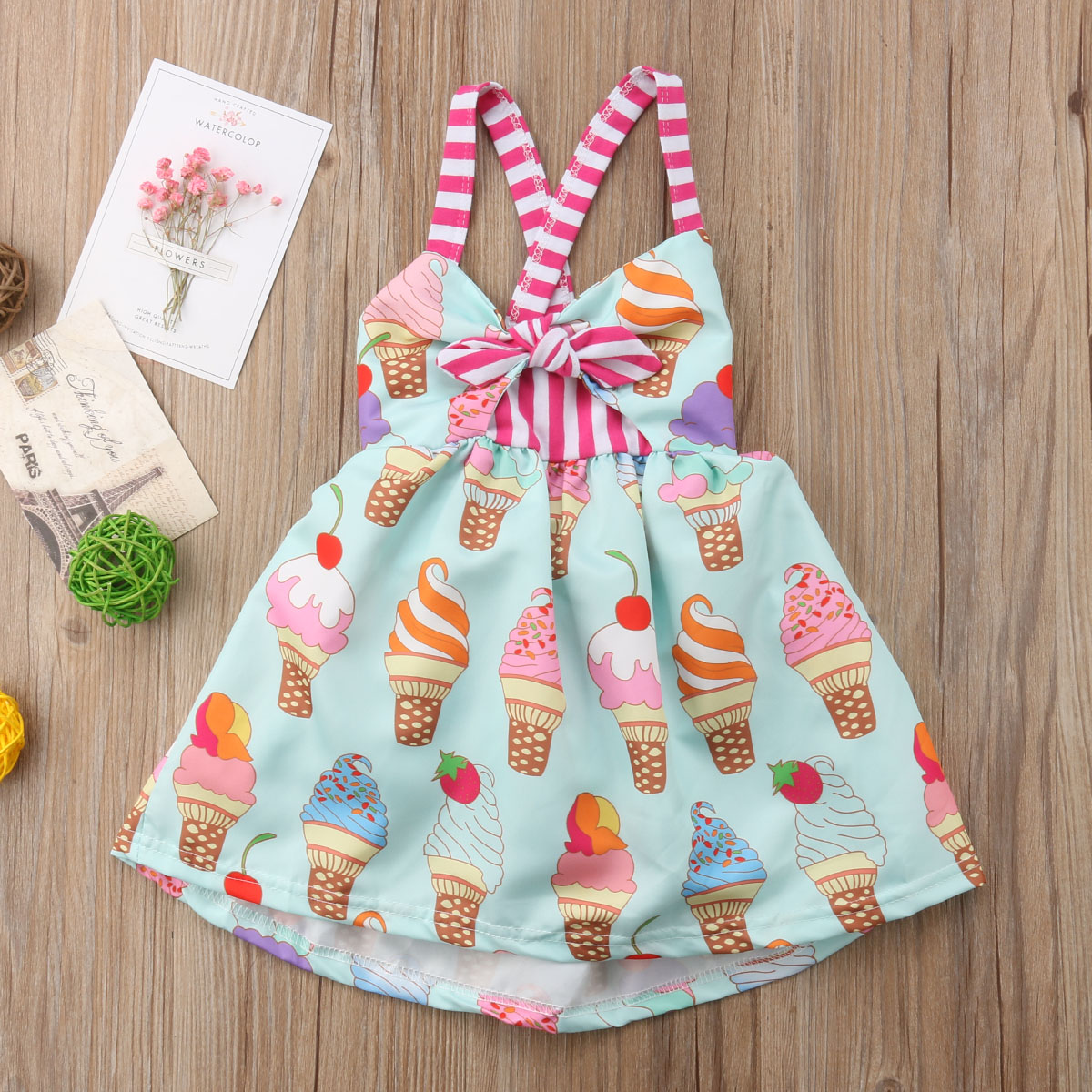 Toddler Newborn Clothes Kids Baby Girls Summer Straps Princess Dress Backless Ice Cream Pattern Tutu Dresses Sundress