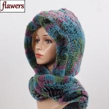 2020 New Russian Women Rex Rabbit Fur Hooded Scarves Lady Winter Warm 100% Real Rex Rabbit Fur Hats Scarf Knit Genuine Fur Caps