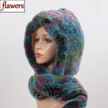 2020 Nieuwe Russische Vrouwen Rex Konijnenbont Hooded Sjaals Lady Winter Warm 100% Echt Rex Konijnenbont Hoeden Sjaal Knit echt Bont Caps