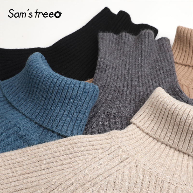 SAM'S TREE Multicolor Solid Minimalist Knit Pullover Sweater Dress Women 2020 Winter Pure Split Long Sleeve Soft Ladies Dresses 4