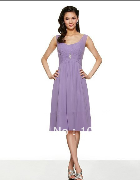 Free Shipping Poly Chiffon Knee Length A-line Soft Sweetheart V-back Natural Waist Rhinestones Beaded Medallion Bridesmaid Dress