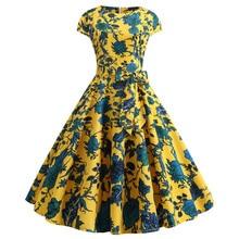 Party Dress Short-Sleeve Swing Slim-Print Elegant Vintage Ladies Summer Lace-Up Hepburn-Style