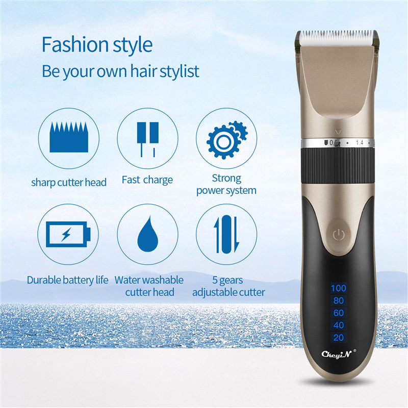 USB Rechargeable Ceramic Hair Clipper Electric Men Barber Hair Cutting Machine Trimmer Shaver Cordless Hair Trimmer