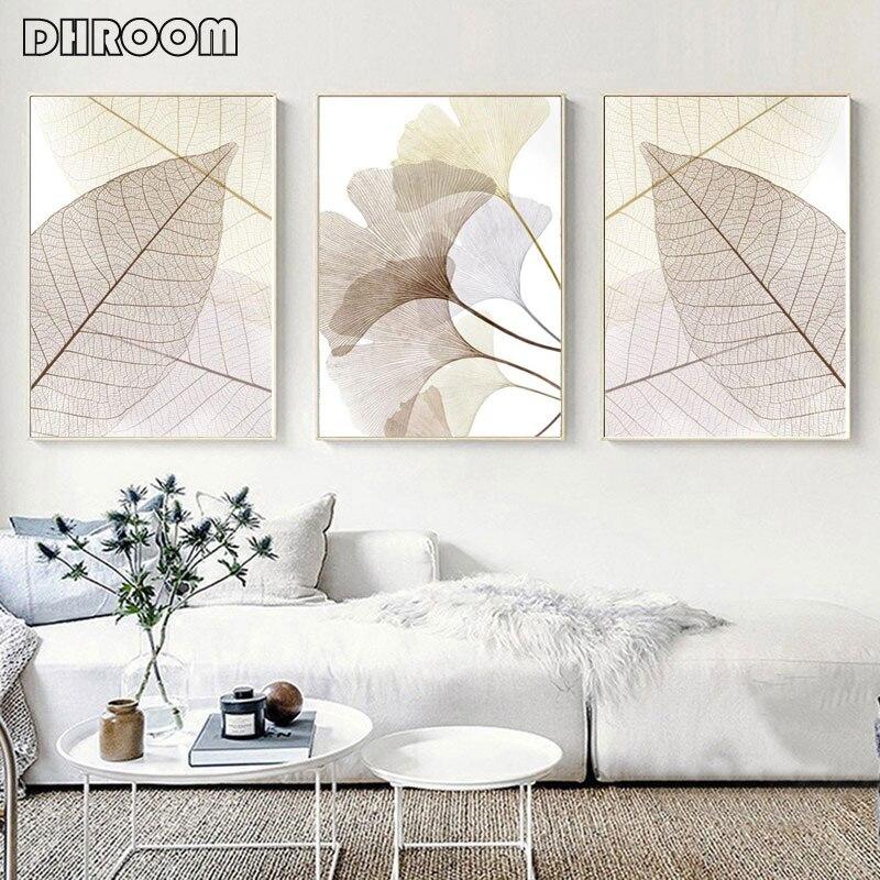 Impresiones de hojas minimalistas para decoración del hogar, carteles de hojas de esqueleto, colores cálidos y acogedores, lienzo botánico, cuadro de arte moderno para pared