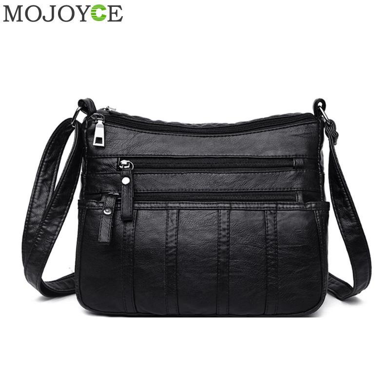 New Fashion Women Crossbody Bag Black Soft Washed Leather Shoulder Bag Patchwork Messenger Bags For Women 2019