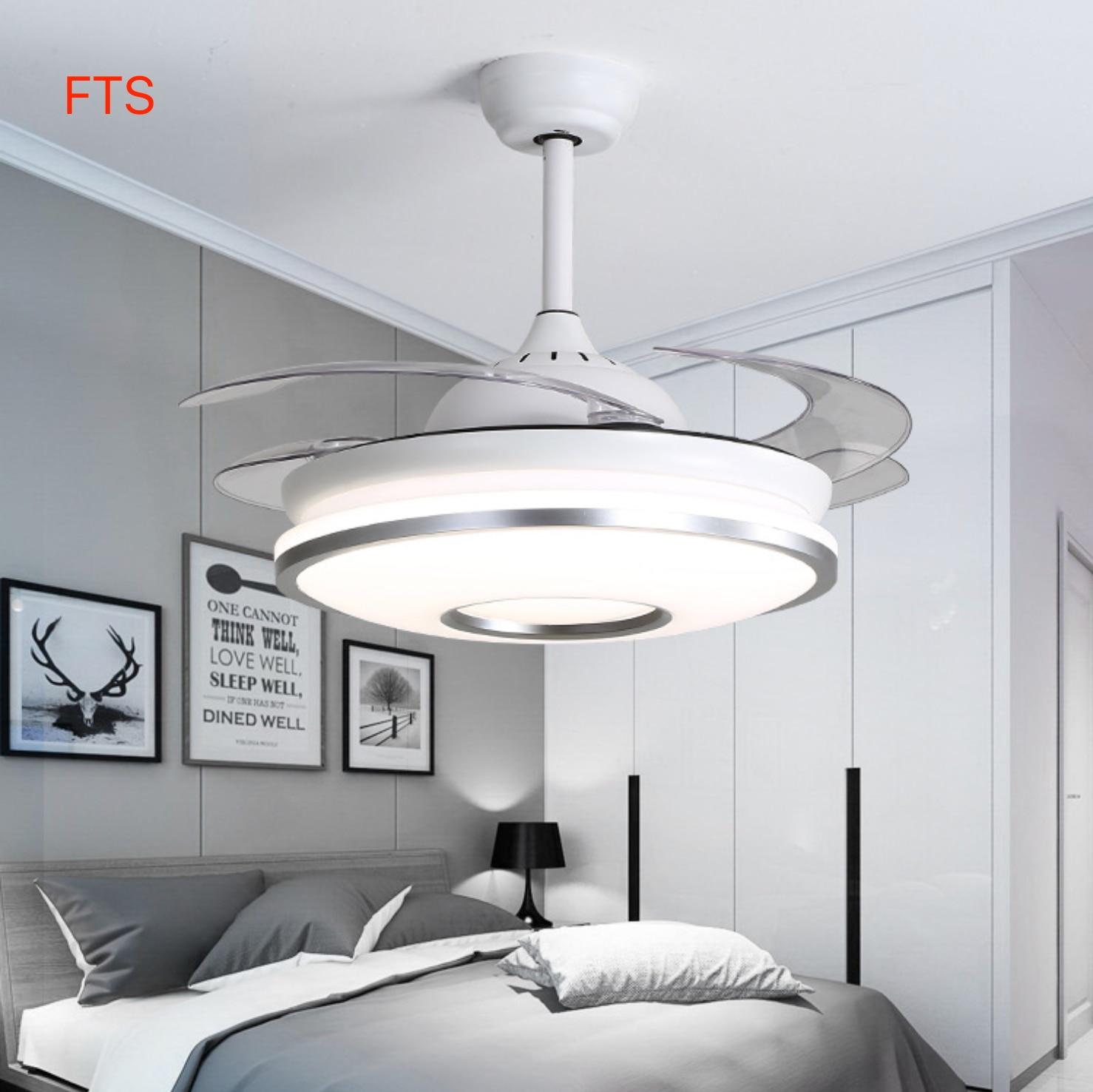 Stealth Fan Light Dimming Silver Remote Control Led Ceiling Fan For Living Room Simple Fashion Smart Modern Bedroom Fan Light