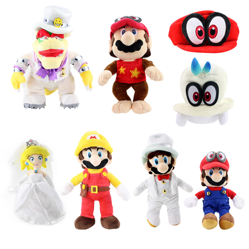 15 32cm Super Mario Fireman Princess Peach Wedding Dress Red Eye
