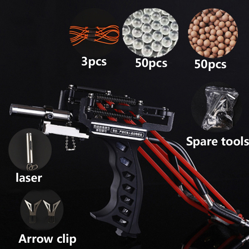 Laser Slingshot Outdoor Hunting Fishing Slingshot Catapult Compound Bow Can Shooting Arrows Steel Balls Fishing Darts Crossbow