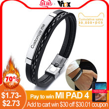 Vnox Multi Layer Leather Bracelets for Men Women Customizable Engraving Stainless Steel Personalize Casual Bangles Amazing Price(China)