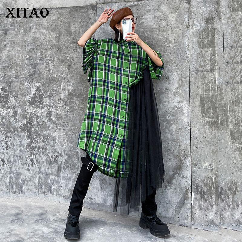 XITAO Lace Patchwork Dress Women Fashion New 2020 Spring Elegant Single Breast Ruffle Plaid Goddess Fan Casual Dress XJ3722