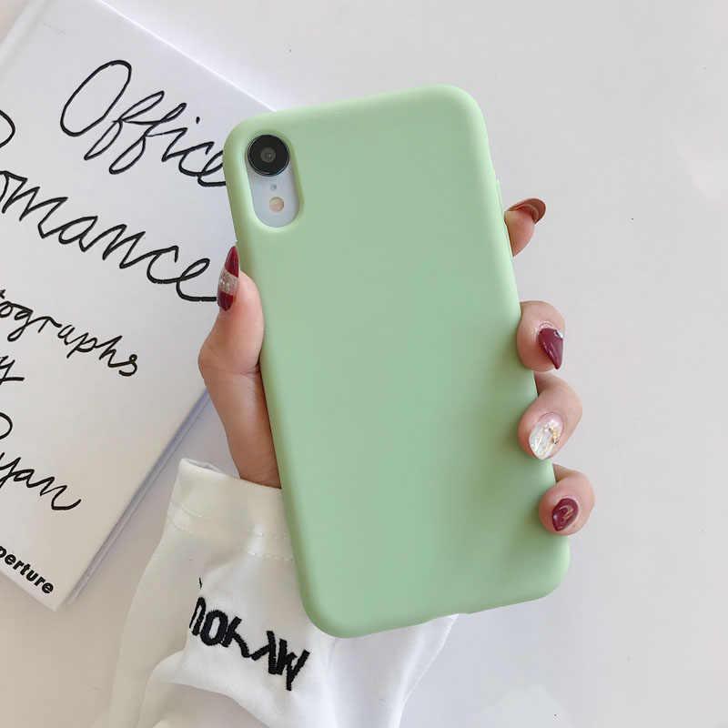 Iphone kılıfları 11 Pro X Xs Max XR 7 8 6 6s artı lüks yumuşak şeker düz renk basit silikon arka kapak çapa hediyeleri 21 tarzı