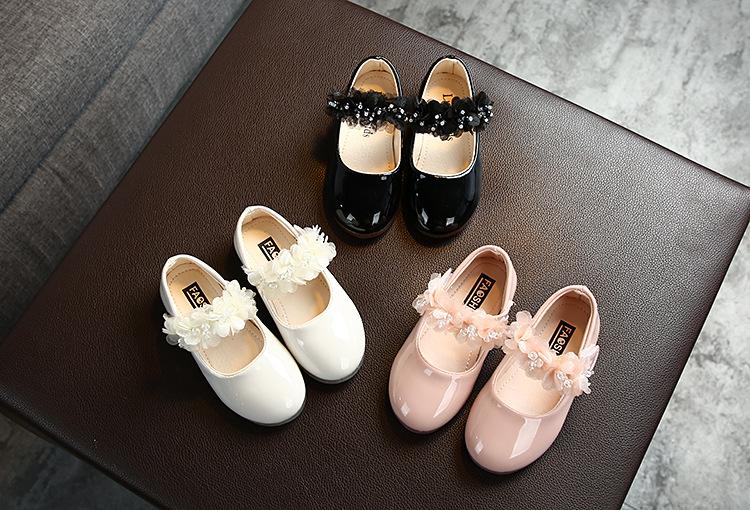 Демисезонные кожаные туфли принцессы для маленьких девочек повседневные