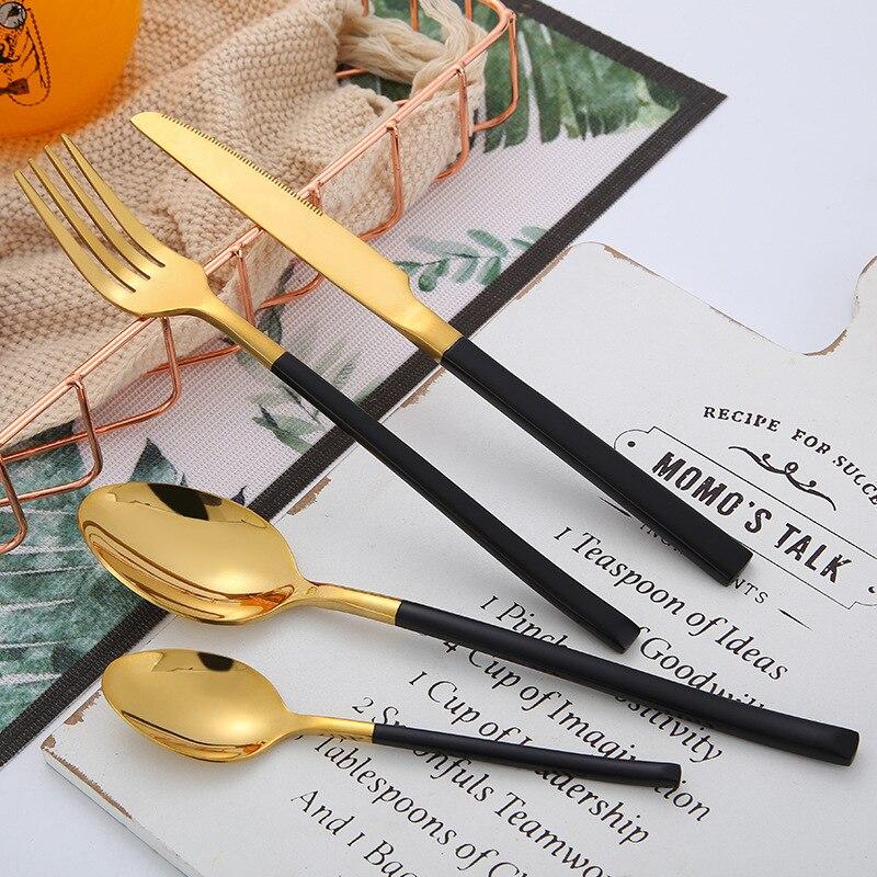 Conjunto de talheres de aço preto brilhante ouro talheres conjunto 304 aço inoxidável garfos colheres facas conjunto kit transporte da gota