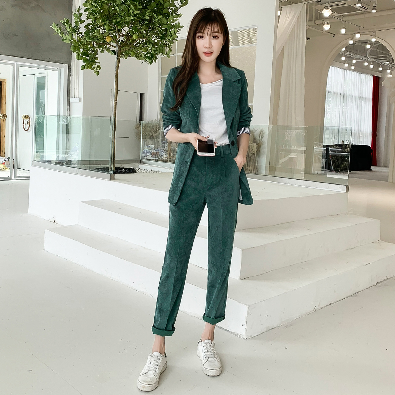 Autumn Winter Blazer Pants Suit Women Korean Chic Fashion Office Ladies Green Corduroy Casual High Waist Small Feet Pants Suit 40