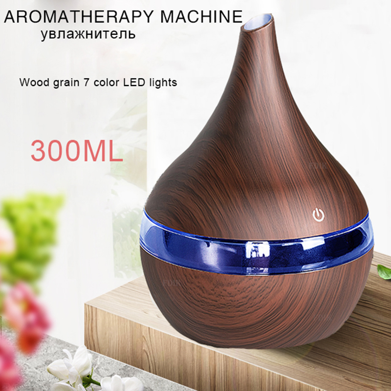 USB Electric Aroma Air Diffuser Wood Ultrasonic Air Humidifier 300ML Essential Oil Aromatherapy Cool Mist Maker For Home