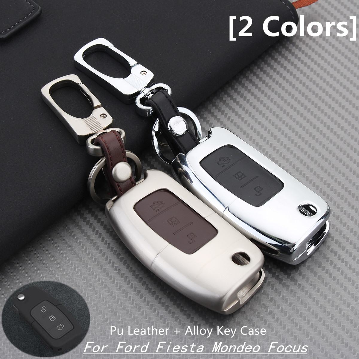 3 Buttons PU Leather Alloy Remote Key Case Cover Key Shell Fob Holder For Ford/Fiesta/Mondeo/Focus|Key Case for Car| |  - title=