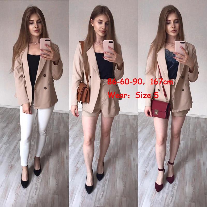 Simplee Elegant two-pieces women short suit Casual streetwear suits female blazer sets Chic 19 office ladies women blazer suit 13