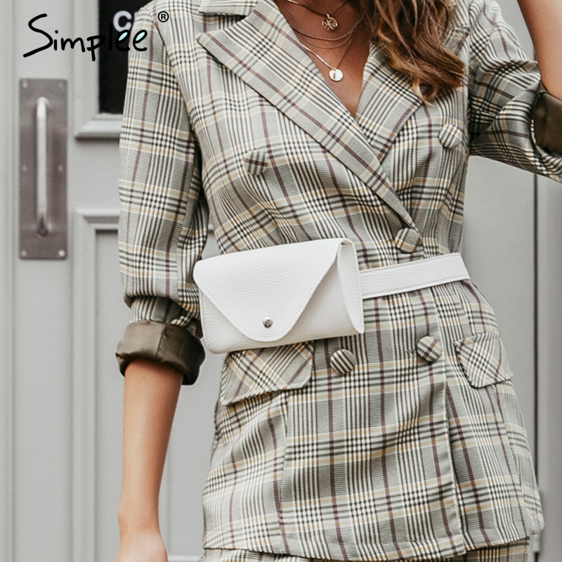 Simplee Trendy Pu Leather Women Waist Bag Button Belted Adjustable Female Messenger Bags Casual Ladies Fanny Pack Crossbody Bags