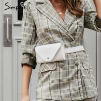 Simplee moda pu cuero mujer cintura bolsa botón cinturón ajustable mujer mensajero bolsas Casual señoras riñonera bolso bandolera