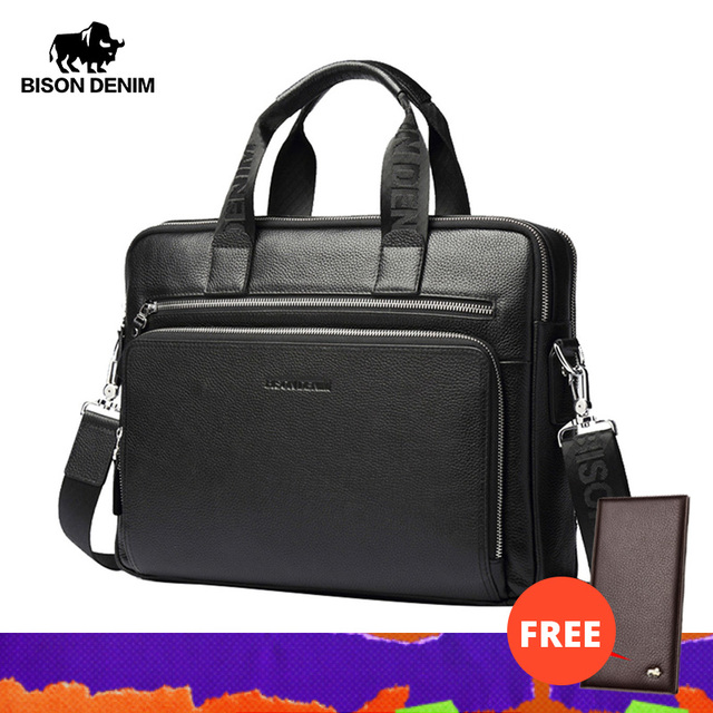 "BISON DENIM Men Bag Genuine Leather Briefcases14"" Laptop Bag Mens Business Crossbody Bag Messenger/Shoulder Bag For Man N2333 3"