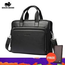 """Bison denim men bolsa de couro genuíno briefcases14 """"bolsa para computador portátil negócios masculino crossbody saco mensageiro/bolsa de ombro para o homem N2333 3"""