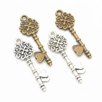 20pcs 11*34mm Two Color Heart key charm double-sided pendant hand decorative amulet is suitable for DIY retro jewelry making image
