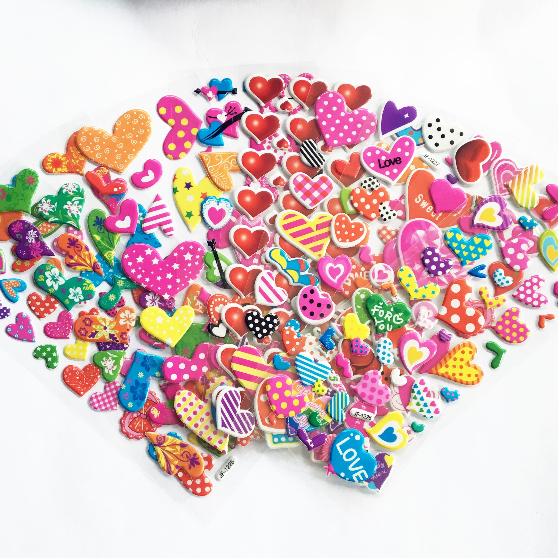 6 Sheets Sticker Kids Cute 3D Cartoon PVC DIY Heart Stickers Mixed School Teacher Reward Children Early Learning Toys
