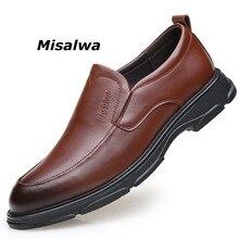 Misalwa Adult Men Dress Shoes Handmade Office Business Elegant Formal Slip on Massage Leather Mens Basic Footwear