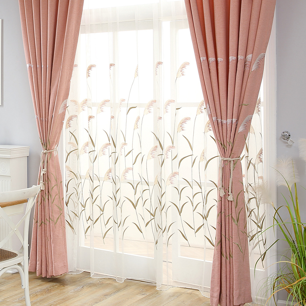European Embroidery Eco-hemp Scandinavian Shade Curtains For Living Dining Room Bedroom.