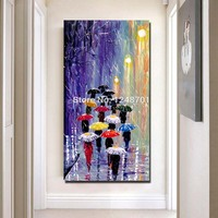 Paraguas pintados a mano acrílico lluvia pintura al óleo azul rojo naranja paisaje abstracto paleta cuchillo pared arte para Decoración|rain oil painting|oil painting|wall art -