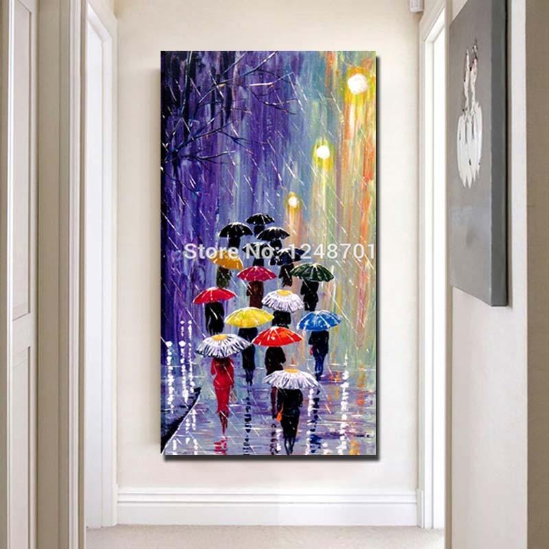 50 22 Parapluies Peints à La Main Peinture à L Huile De Pluie Acrylique Bleu Rouge Orange Abstrait Paysage Palette Couteau Mur Art Pour La