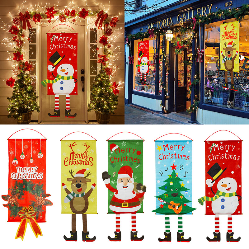 Cartel de Puerta del porche de Feliz Navidad, adorno colgante, decoración de Navidad para el hogar, Navidad, 2020, año nuevo 2021