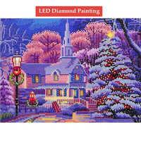 LED Light Full Round Drill 5D DIY LED Diamond Painting Snow house mosaic cross stitch diamond embroidered 30x40cm