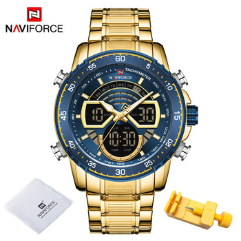 NAVIFORCE Mens Military Sports Waterproof Watches Luxury Analog Quartz Digital Wrist Watch for Men Bright Backlight Gold Watches 11
