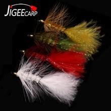 Jigeecarp 4 pçs cabeça de cristal grânulo wooly bugger streamer voar tamanho 4 6 8 pesca com mosca para a grama da carpa truta moscas isca de pesca
