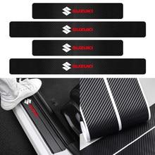 Bande autocollante 3D en Fiber de carbone Nano pour protection de seuil de porte, 4 pièces, pour Suzuki Reno Swift SX4 Jimny Alto Baleno Vitara Grand Vitara