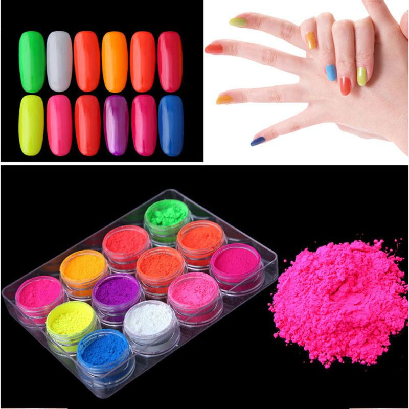 12Pcs Fluorescent UV Pigment Powder Black Light Reactive Luminous Resin Pigment