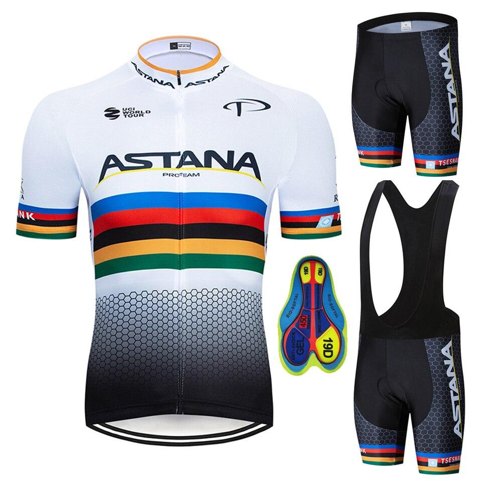 Zestaw koszulek rowerowych 2020 Pro Team Astana letnia odzież rowerowa odzież rowerowa mężczyźni górski rower sportowy zestaw kombinezon rowerowy