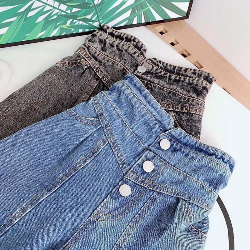 Girls Wide-legged Jeans Spring And Autumn Children Loose Straight Soft Denim Pants Chubby Kid High Waist Jeans 3