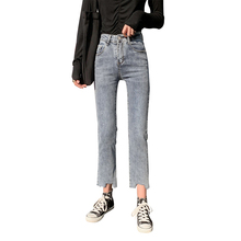 2020 Casual Denim Mom Jeans Boot Cut Pants Blue Ripped Jeans Woman High Waist Jeans For Women Stretchy Ripped Skinny Jeans Denim 2017 denim high elastic imitate jeans woman knee skinny pencil pants slim ripped boyfriend jeans for women blue ripped jeans