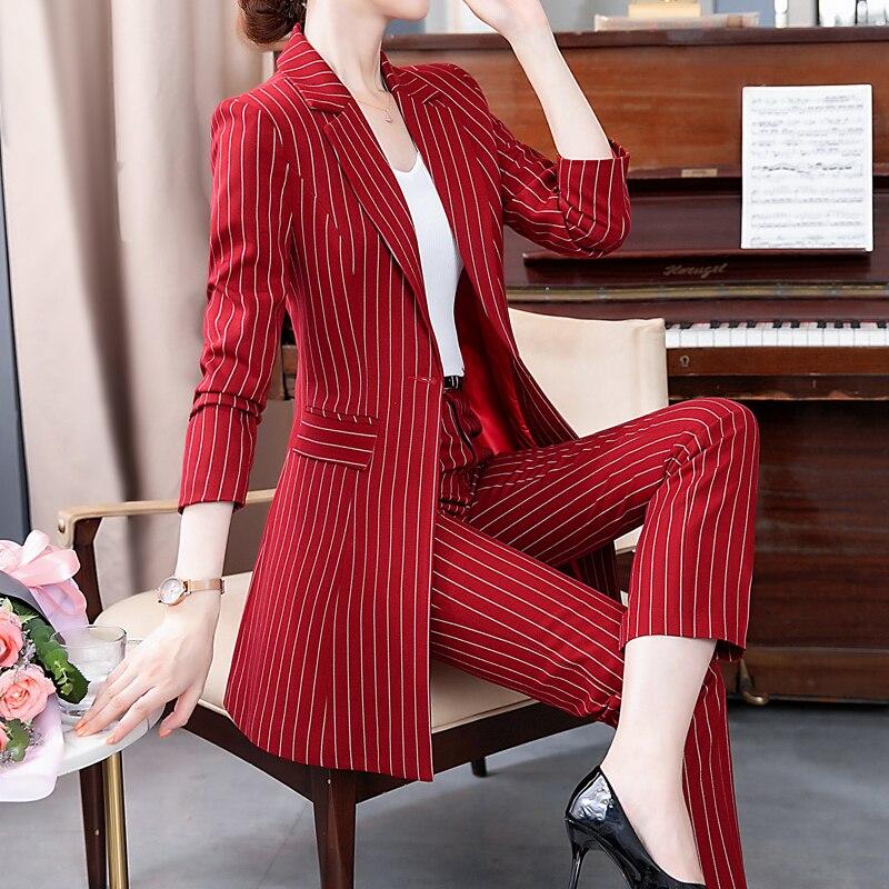 New Arrival Women Plus Size Long Blazer Pant/skirt Suit Temperament 2 Piece Sets Office Lady Striped Suit Comfortable Pant Suits
