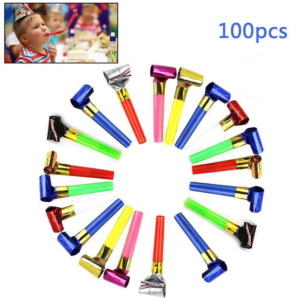100 PCS Parties Whistles Plastic Paper Blowouts Whistle Toys Gifts Funny Props