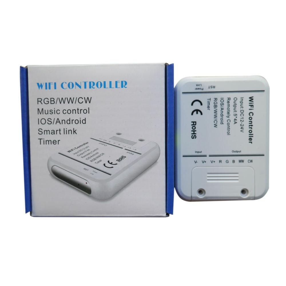 無線 Lan 5 チャンネル rgbw/WW/CW led コントローラ 16 色スマートフォン制御音楽とタイマーモード魔法ホーム無線 lan コントローラ