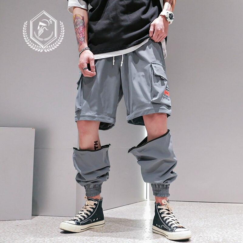 Men Loose Cargo Safari Style Pants Fashion Pockets Harem Jogger Ankle-Length Hip Hop Pants