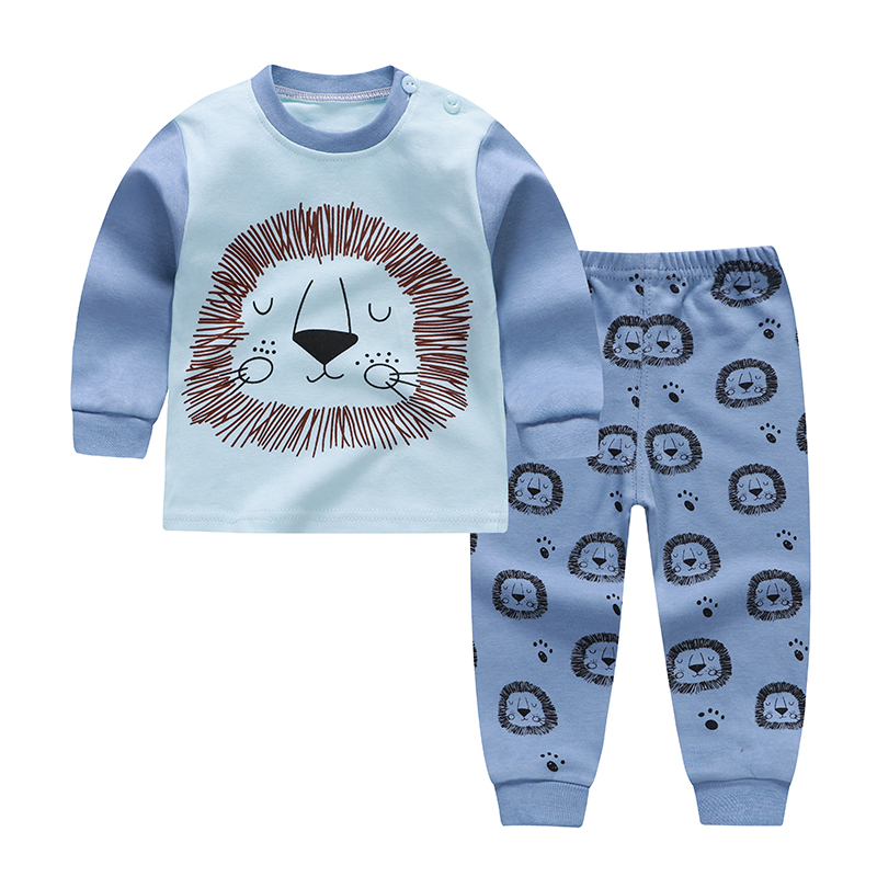 Baby Pajamas Sets Cotton Boys Sleepwear Autumn Spring Cartoon Print Girls Long Sleeve Tops+Pants 2pcs 1-6 Years Old