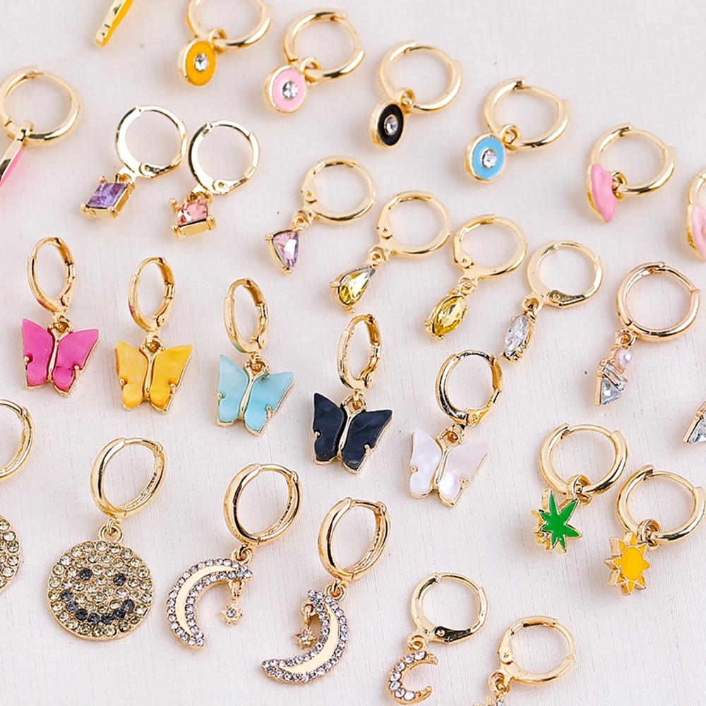 Lost Lady Geometric Rhinestone Crystal Pendant Hoop Earrings for Women Gold Color Ear Huggies jewelry Wholesale Girls Party Gift
