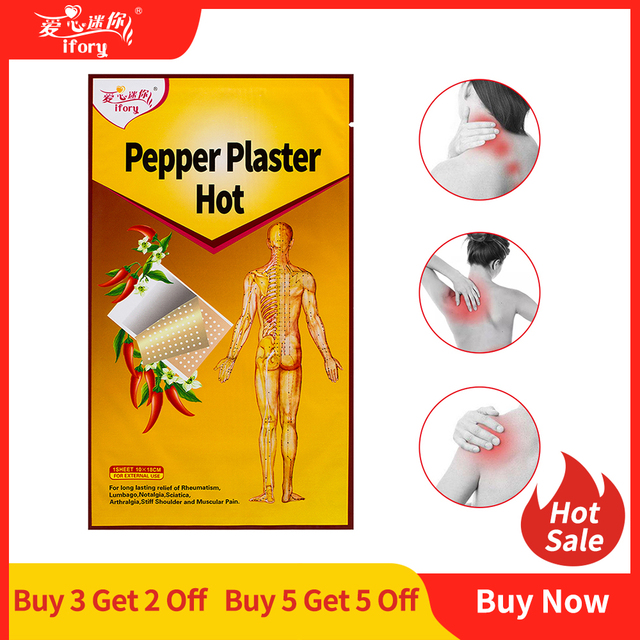 5 Bags Health Care Medical Plasters Tiger Balm Pepper Plaster for Joint Pain 10X18 cm Back Pain Patch Hot Capsicum Plaster