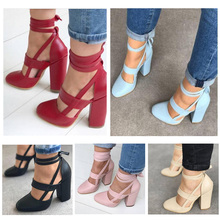 New Fashion  Women Chunky Heels Sandals Pointed Toe PU Leather Female for Summer O66